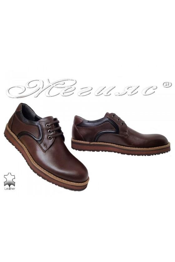 Мъжки обувки Fenomens 901 тъмно кафяви естествена кожа