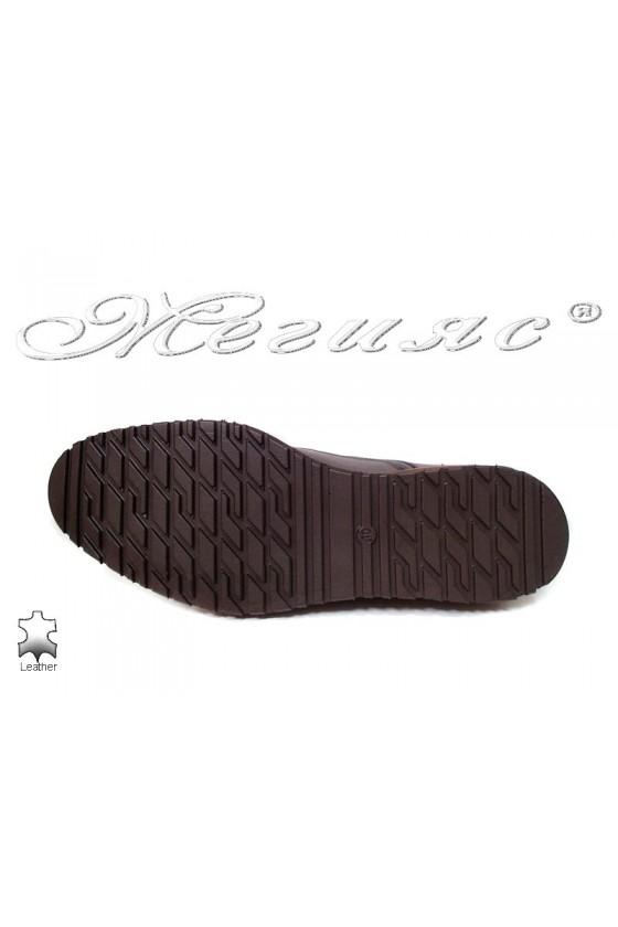 Мъжки обувки Fenomens 905 тъмно кафяви естествена кожа