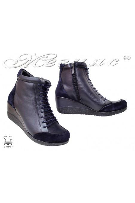 Women platform boots 1708 blue leather