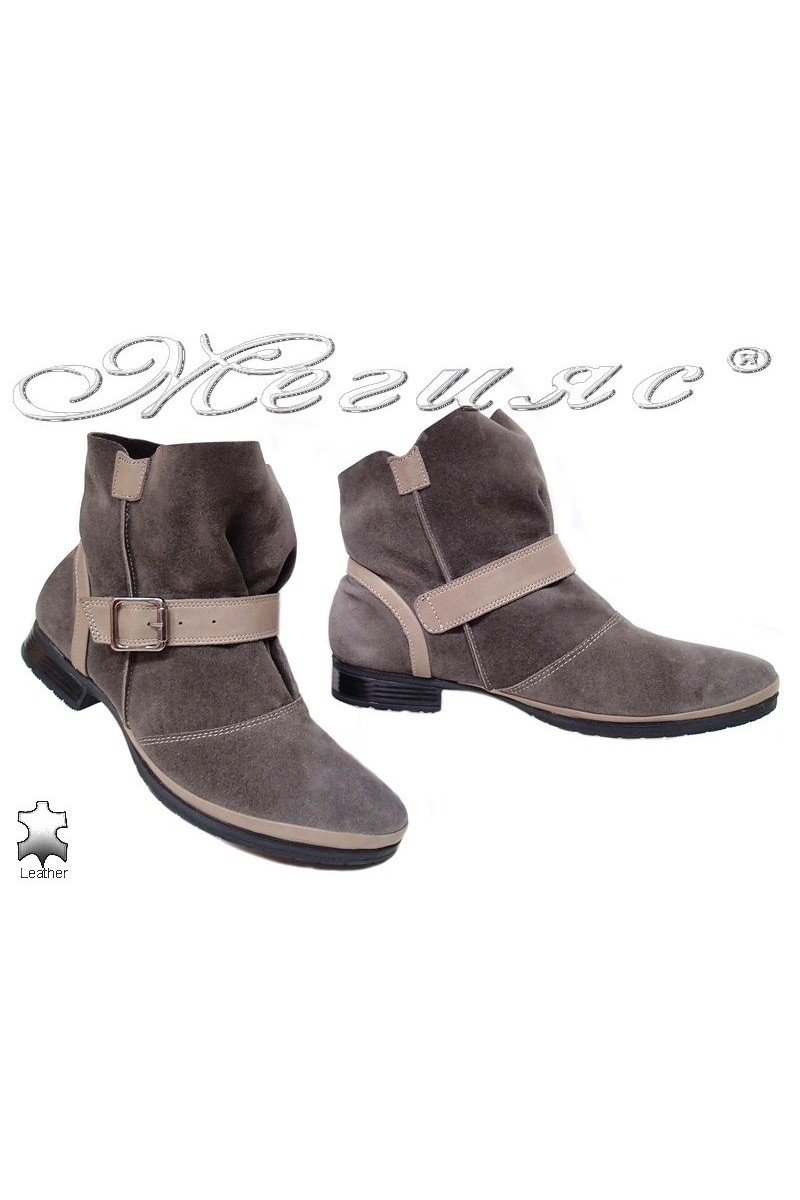 Lady boots 901 beige suede leather