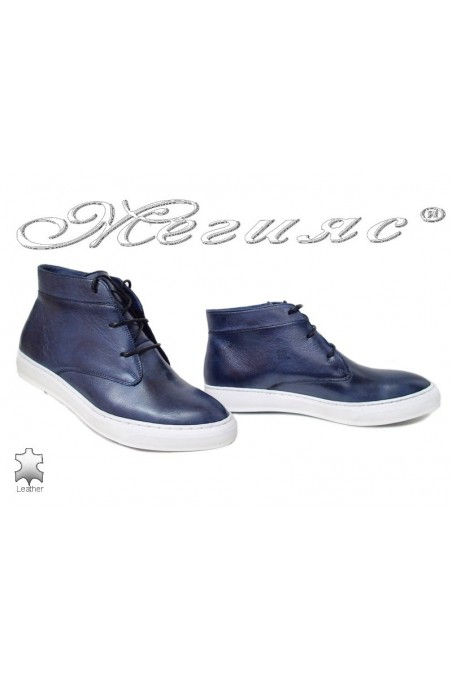 Women sport boots 601 blue leather