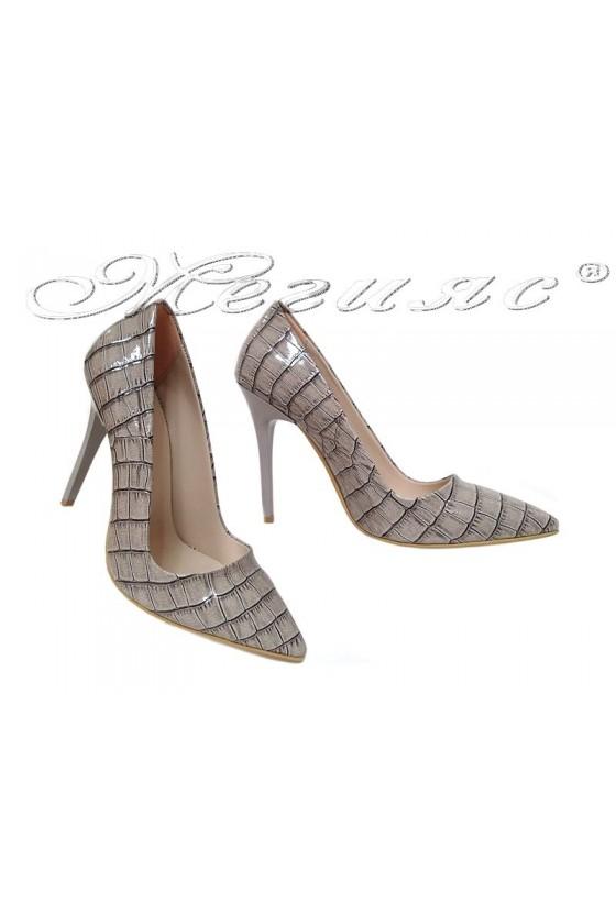 Дамски обувки 308 сиви кроко лак остри висок ток елегантни