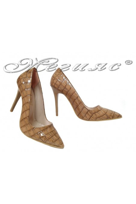 Ladies elegant shoes 308 brown patent high heel