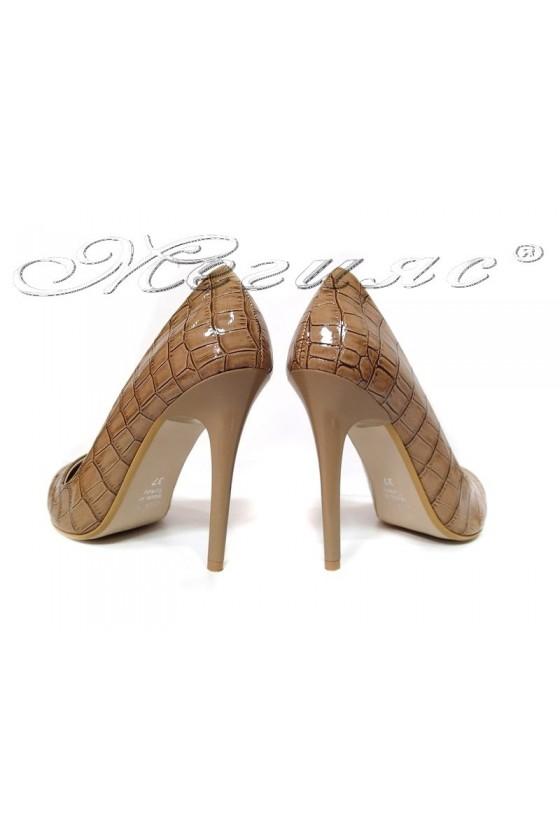 Ladies elegant shoes 308 brown patent high heel