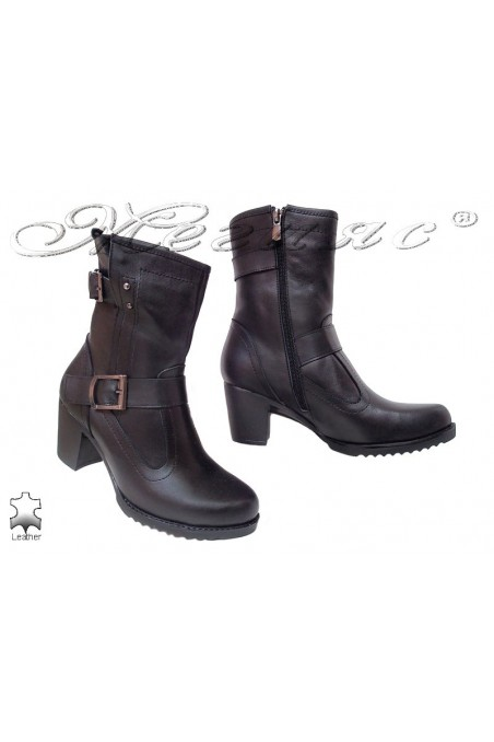 Women boots 114 black leather middle heel