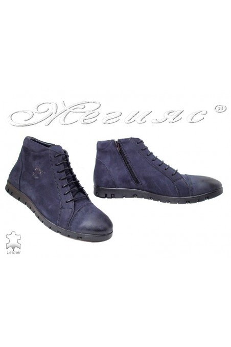 Man boots 305 Sharp blue suede