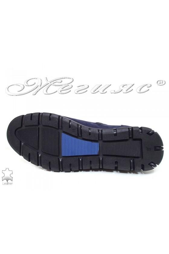 Мъжки боти  шарп 305  сини естествен набук