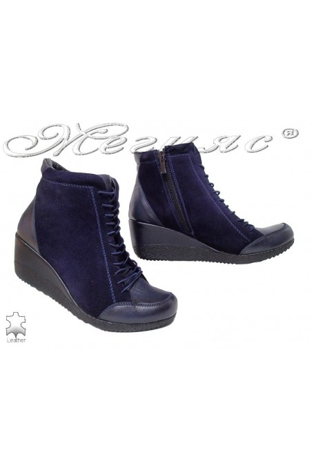 Lady boots 1708 blue suede leather