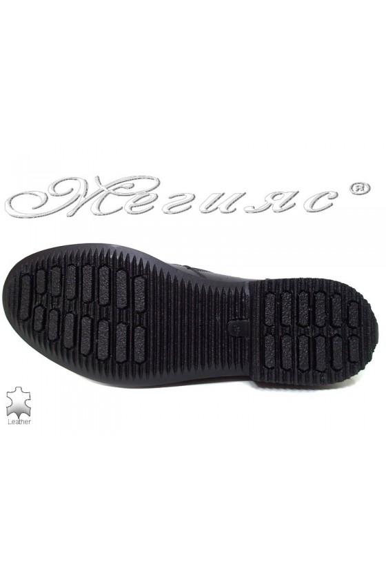 Мъжки елегантни боти шарп 025 черни  естествена кожа