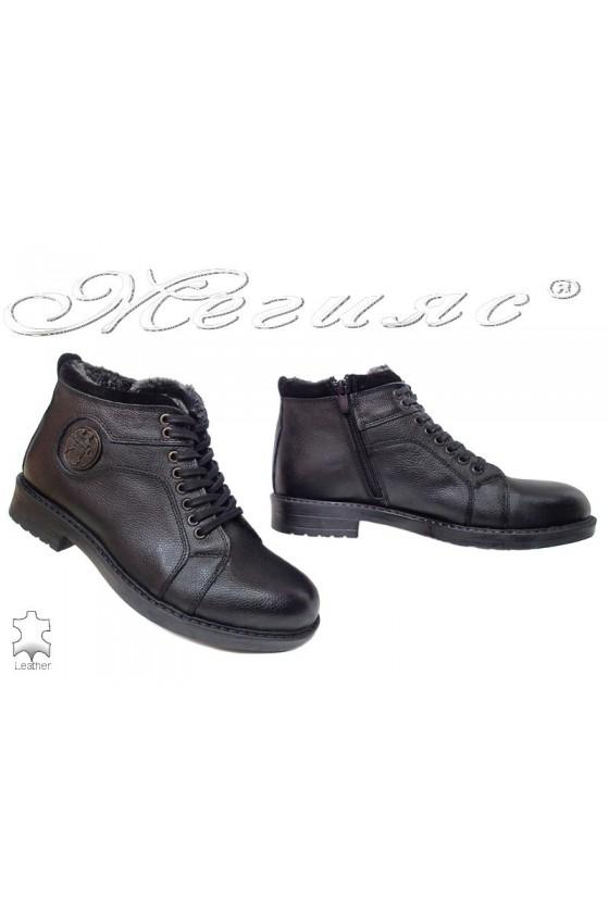 Men boots 915 black leather
