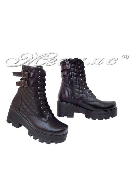 Women boots 252 black pu middle heel