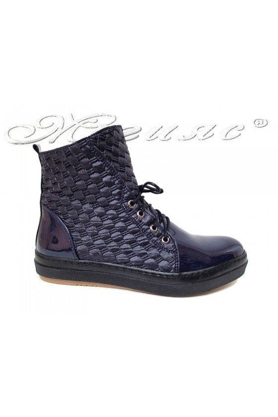 Woman sports ankel boots  02 blue pu leather