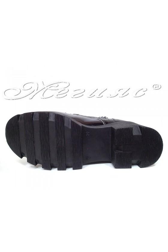 Дамски боти 252  черни лак ежедневни широк ток еко кожа