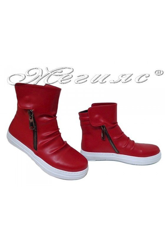 Lady ankle boots k-35 red leather pu