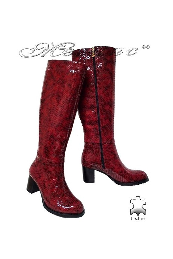 Дамски ботуши 206 червени змия естествена кожа