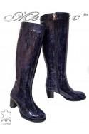 Дамски ботуши 206 тъмно сини змия естествена кожа широк ток