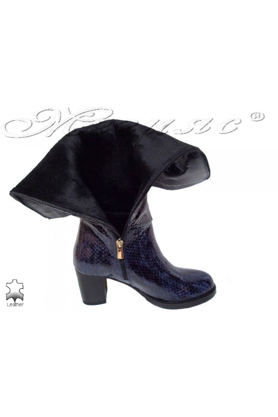 Women boots 206 blue leather middle heel