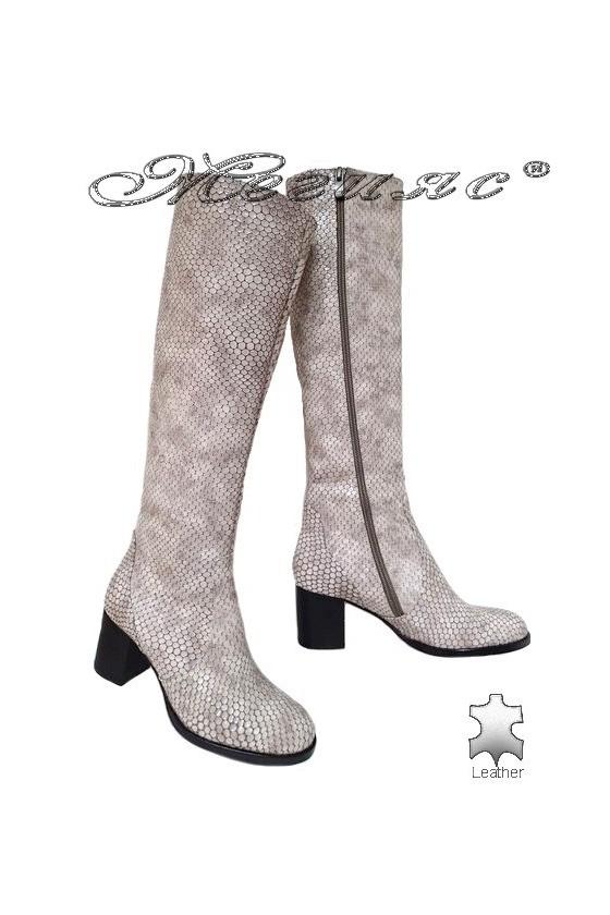 Women boots 5427 beige leather middle heel