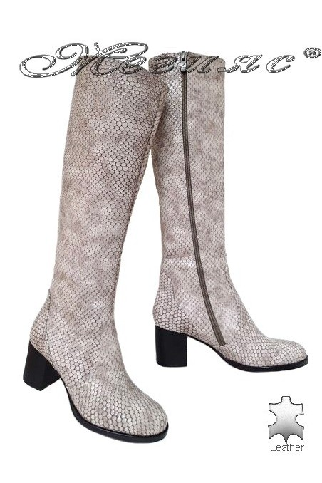 Women boots 5427 beige leather middle heel