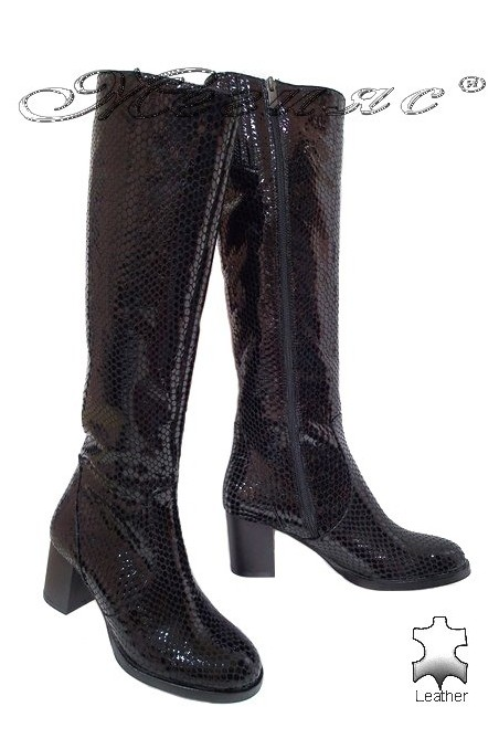 Women boots 5427 black leather middle heel