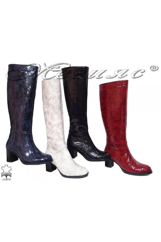 Women boots 206 red leather middle heel