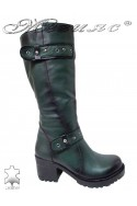 Women boots 802 green leather