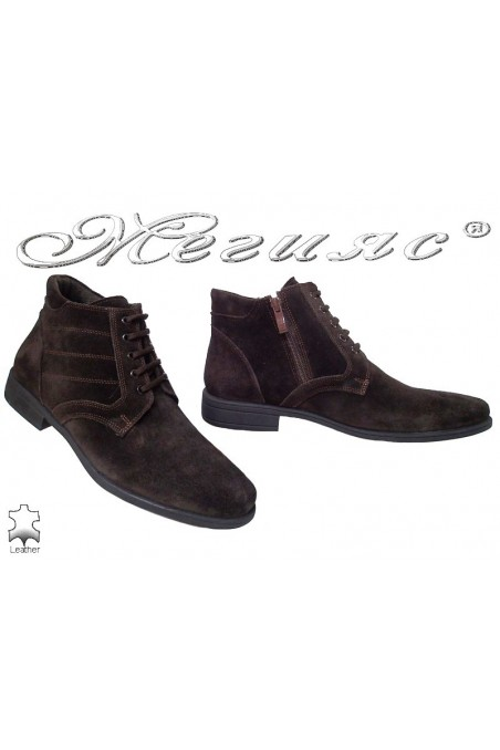 Men elegant boots 0300 brown suede leather