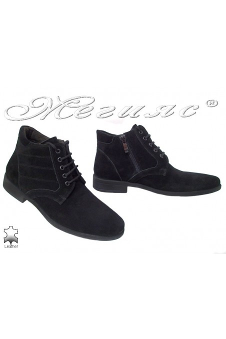 Men elegant boots 0300 black suede leather