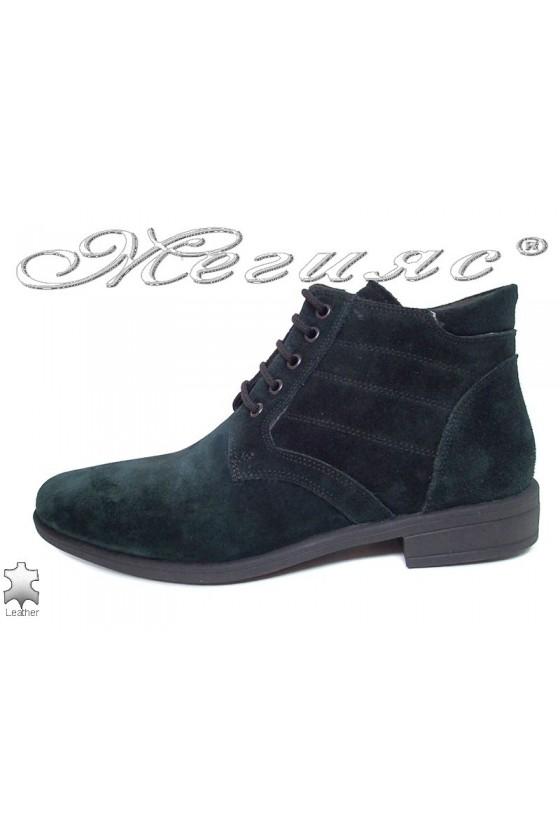 Men elegant boots 0300 green suede leather