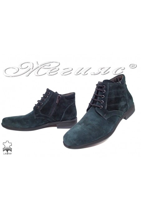 Men elegant boots 0300 green suede leather