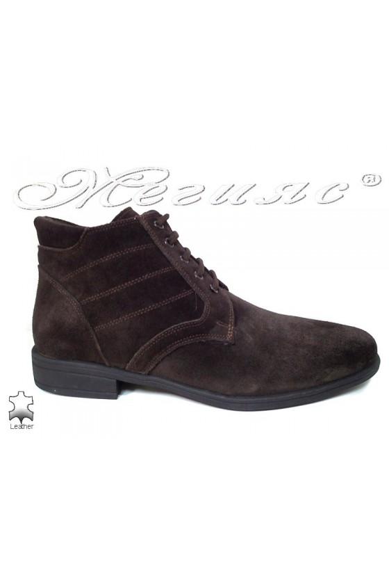 Men elegant boots 0300 brown suede leather