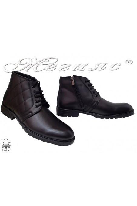 Men elegant boots 7260 black leather