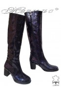 Women boots 5427 blue leather middle heel