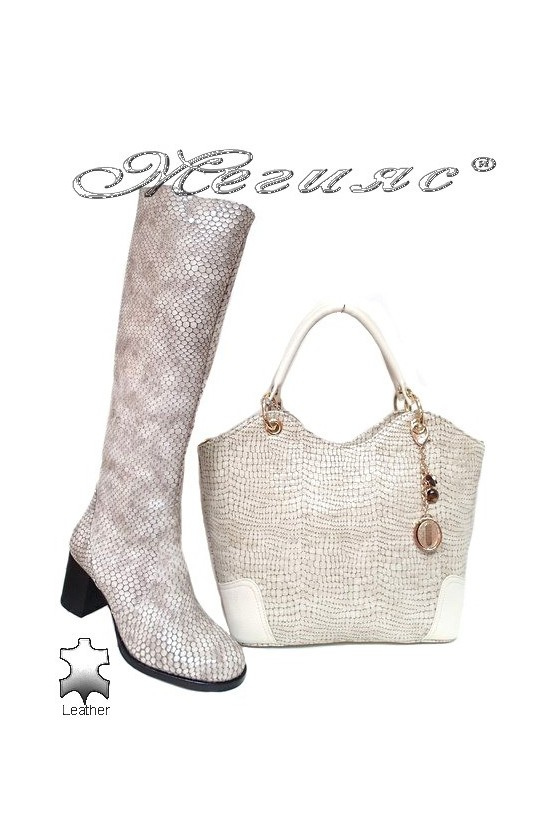 Women boots 5427 beige leather with bag 1076