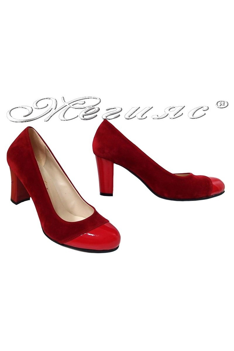 Lady shoes 011213 red pattent pu+suede