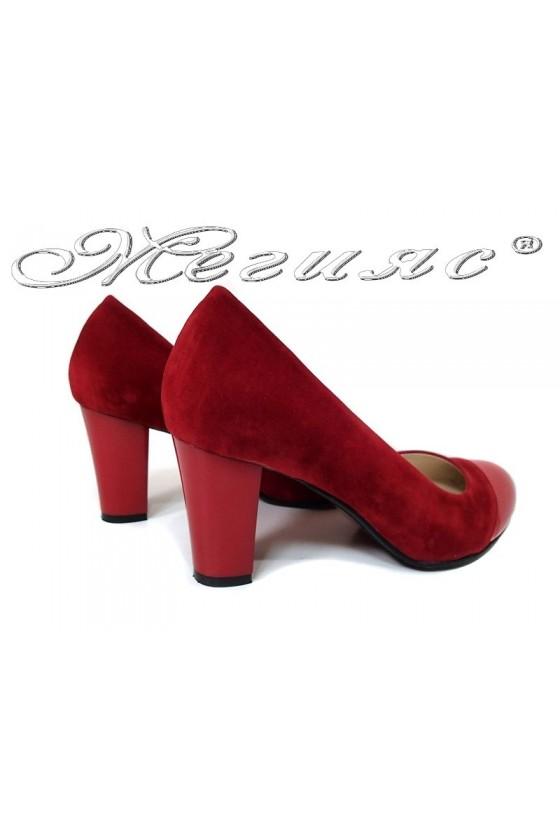 Дамски обувки 011213 червени набук+лак