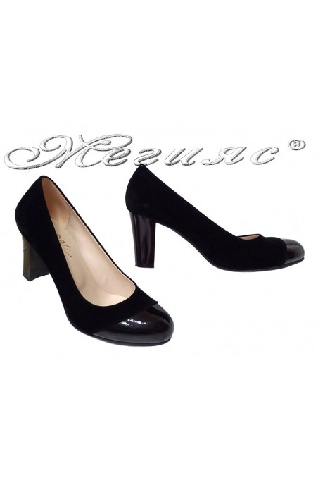 Lady shoes 011213 black pattent pu+suede