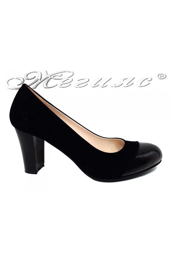 Lady shoes 011213 black pattent pu+suede
