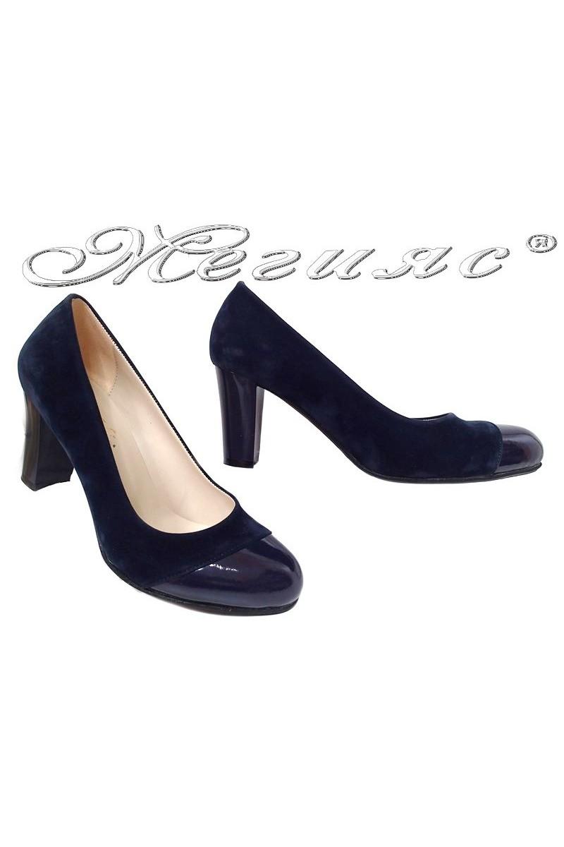 Lady shoes 011213 blue pattent pu+suede