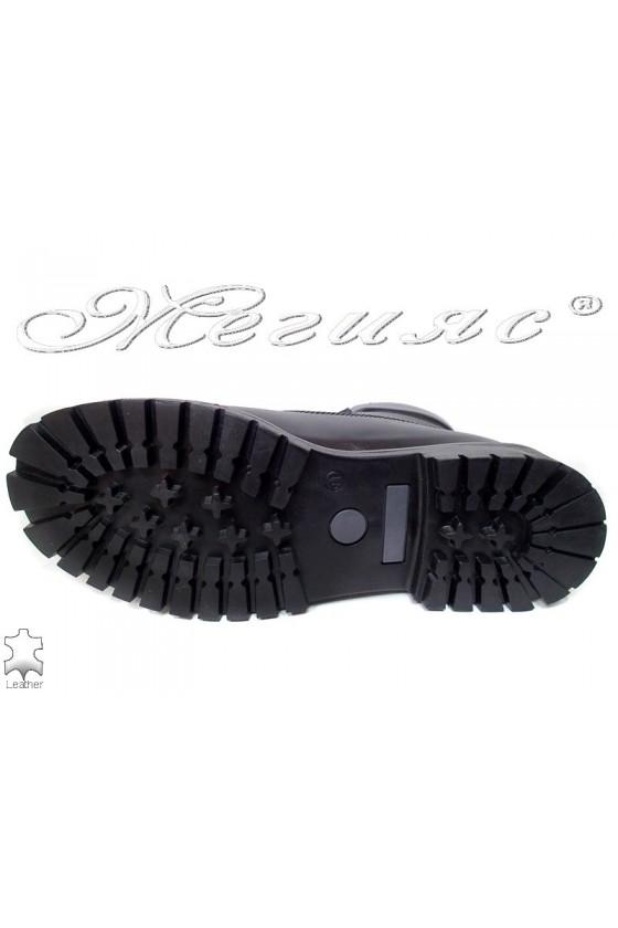 Боти Mer / Garson черни естествена кожа ежедневни грайфер