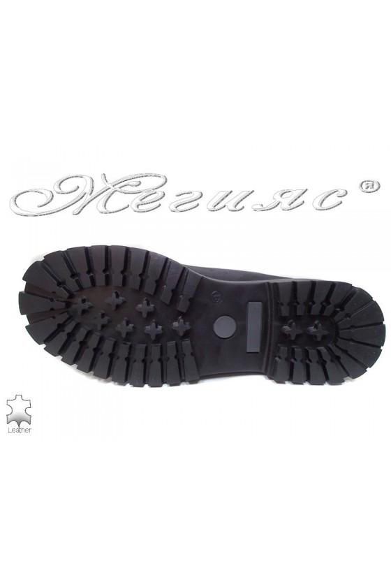 Боти Mer / Garson черни естествен набук+черна кожа ежедневни грайфер