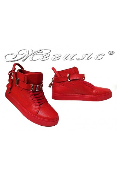 Women sport boots 2909 red pu