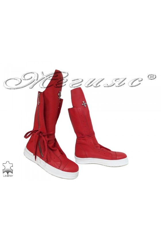 Women boots 1846 red leather