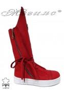 Дамски ботуши 1846 червени от естествена кожа