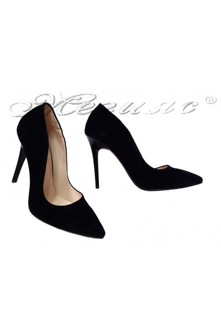 Women elegant shoes 1600 black suede high heel