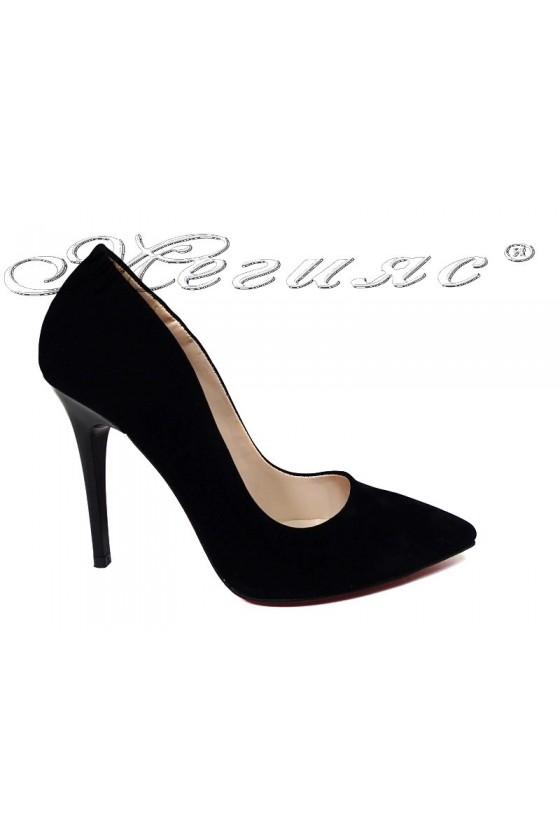 Women elegant shoes 1600 black suede high heel