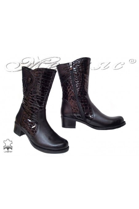 Women boots 157 black leather middle heel