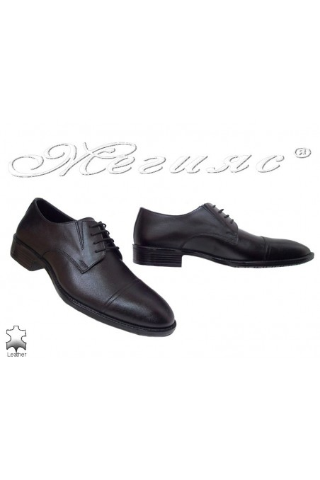Men elegant shoes 7503 black leatehr
