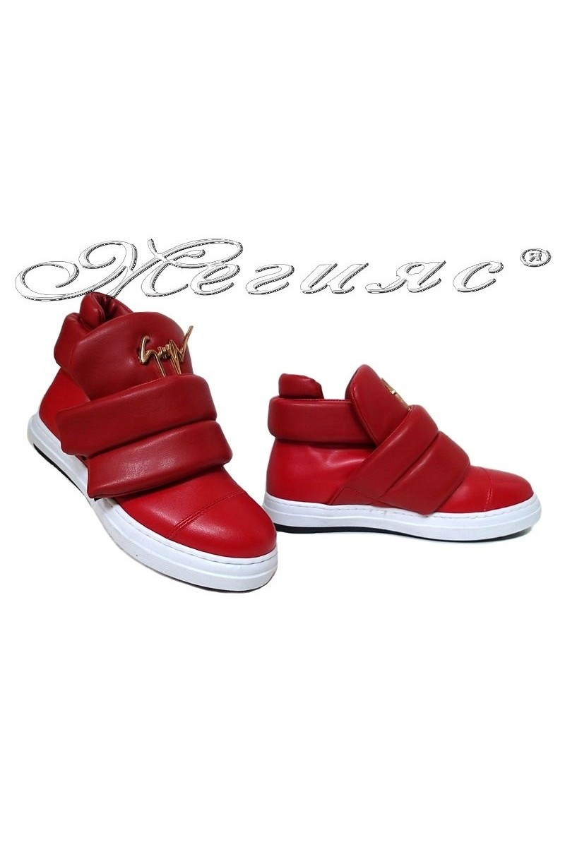 Lady ankle boots 500 red leather pu