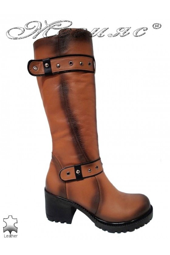 Women boots 802 brown leather